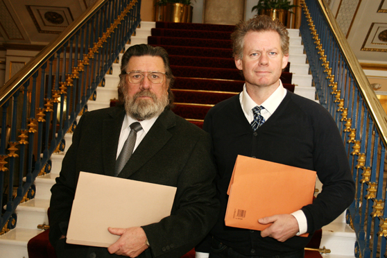 Ricky Tomlinson with Andy Warren, Liverpool Town Hall, February 2012.