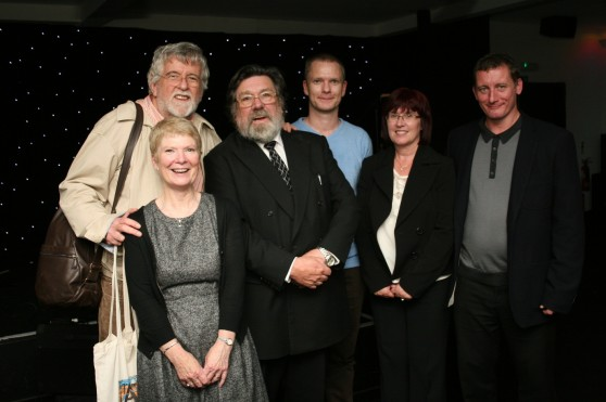 Laurie Flynn, investigative journalist, with Ricky Tomlinson, Eileen Turnbull and Unite supporters, Louis, Ann and Dave.