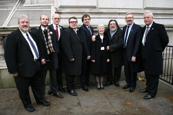 Members of the Shrewsbury 24 Campaign, MPs and Trade Union Leaders