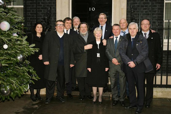 The Shrewsbury 24 Campaign, MPs and Union Leaders outside Number 10.