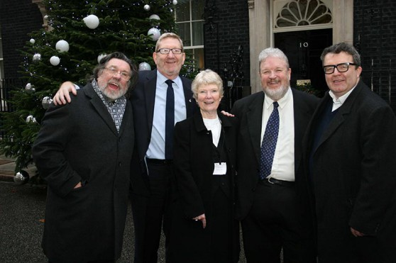 Left to Right: Ricky Tomlinson, Len McCluskey, Eileen Turnbull, Tom Waston