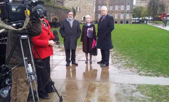 Ricky Tomlinson, Eileen Turbull and Terry Renshaw on College Green before the debate.