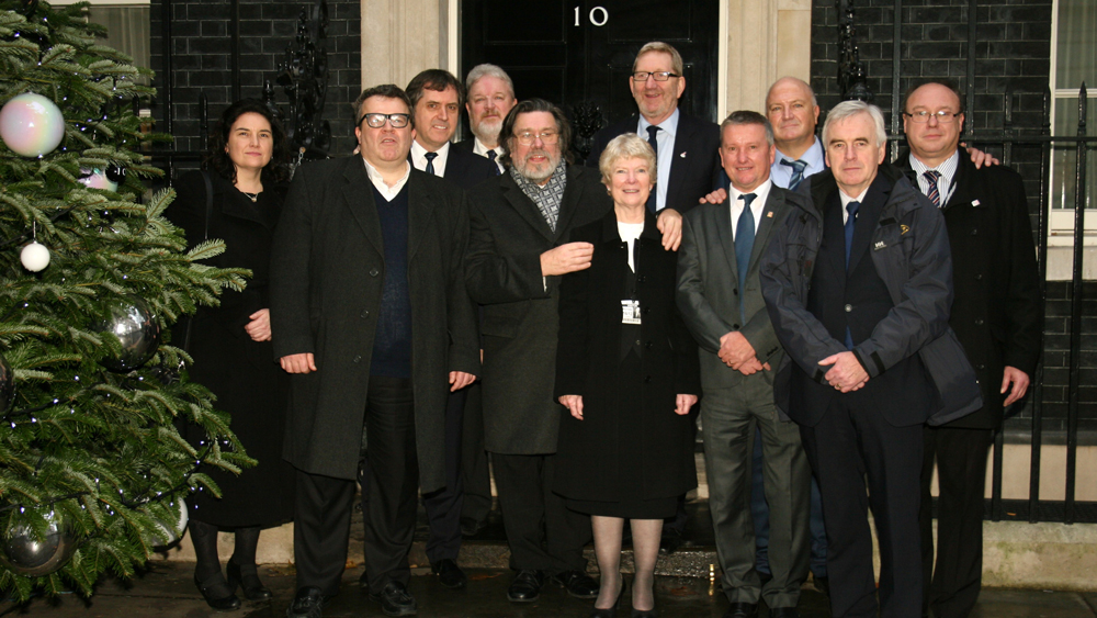 The Shrewsbury 24 Campaign, MPs and Union Leaders outside Number 10. December 2013.